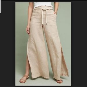 Elevenes linen wide legs slit  pant
